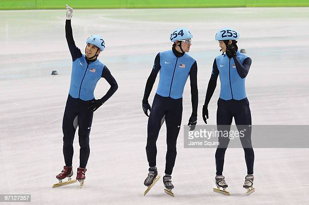 Bronze medalist Apolo Anton Ohno Simon Cho and Travis Jayner after the Men's 5000m Relay Short Track Speed Skating Final on day 15 of the 2010...