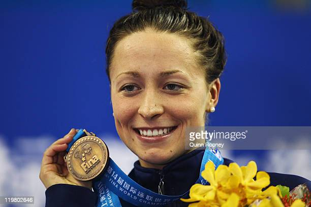 Bronze medalist Ariana Kukors of the United States poses for a photo on the podium during the medal ceremony for the Women's 200m Individual Medley...