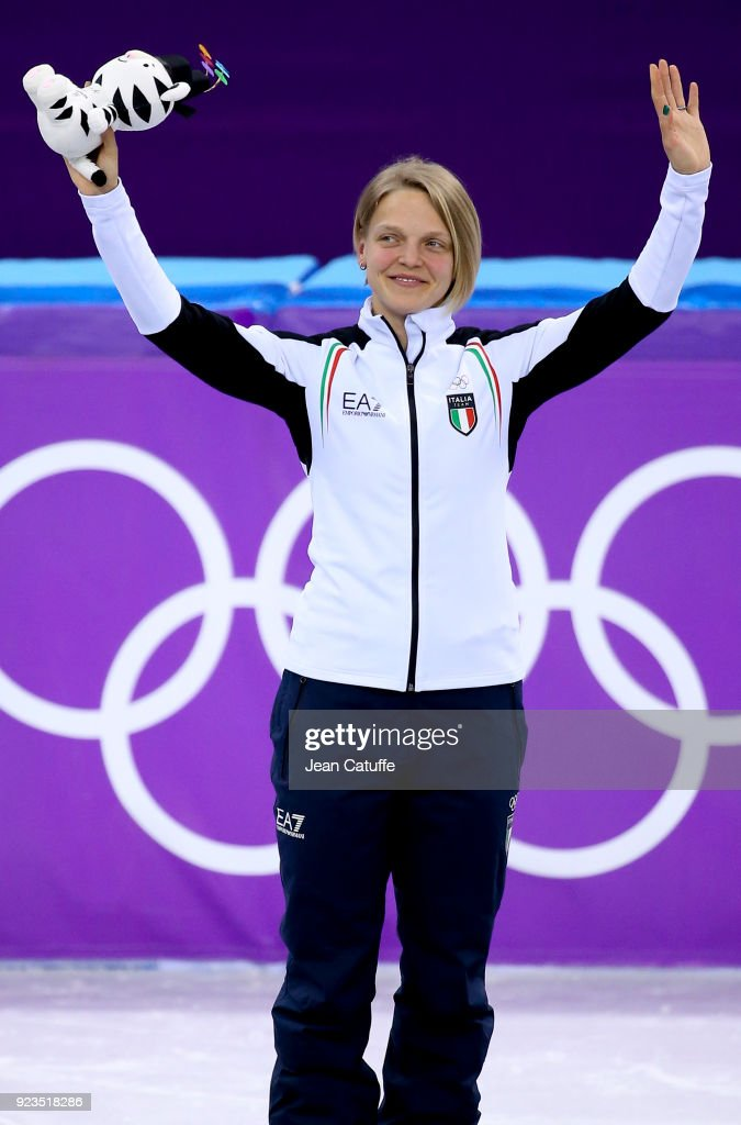 Bronze medalist Arianna Fontana of Italy celebrates during ceremony following the Short Track Speed Skating Women's 1000m Final A on day thirteen of the PyeongChang 2018 Winter Olympic Games at Gangneung Ice Arena on February 22, 2018 in Gangneung, South Korea.