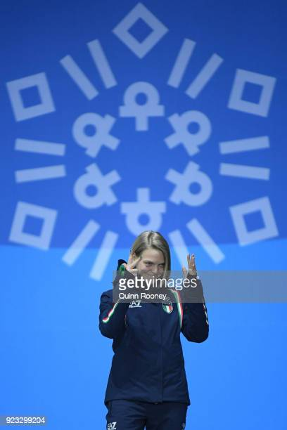Bronze medalist Arianna Fontana of Italy celebrates during the medal ceremony for Short Track Speed Skating Ladies' 1000m on day 14 of the...