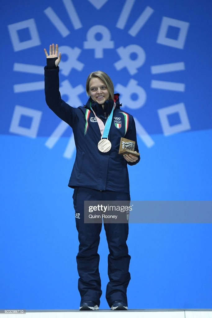 Bronze medalist Arianna Fontana of Italy celebrates during the medal ceremony for Short Track Speed Skating - Ladies' 1,000m on day 14 of the PyeongChang 2018 Winter Olympic Games at Medal Plaza on February 23, 2018 in Pyeongchang-gun, South Korea.