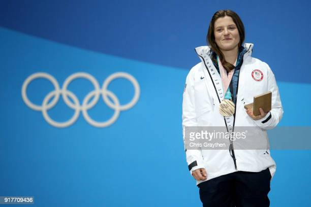 Bronze medalist Arielle Gold of the United States poses during the medal ceremony for the Snowboard Ladies' Halfpipe Final on day four of the...