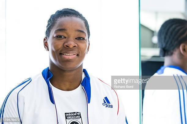 Bronze medalist at the World Judo Championship in Rio de Janeiro Audrey Tcheumeo of France poses at Adidas Performance Store ChampsElysees on...