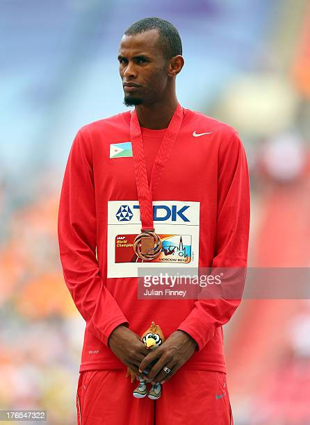 Bronze medalist Ayanleh Souleiman of Djibouti stand on the podium during the medal ceremony for the Men's 800 metres during Day Six of the 14th IAAF...