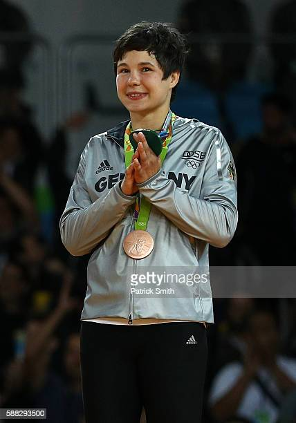 Bronze medalist B Laura Vargas Koch of Germany stands on the podium during the medal ceremeny for the Women's 70kg Judo on Day 5 of the Rio 2016...