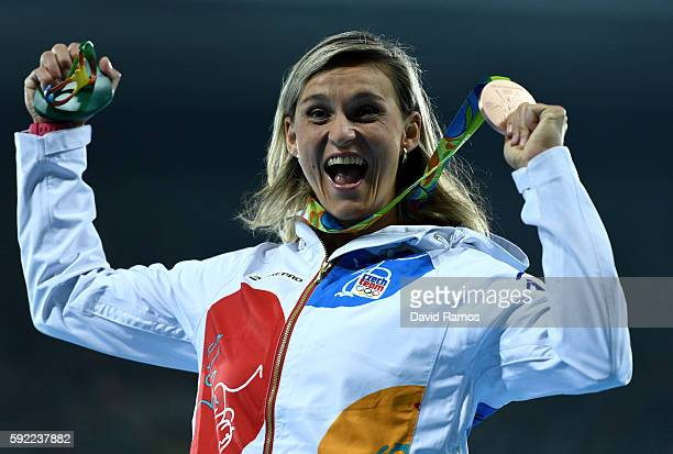 Bronze medalist Barbora Spotakova of the Czech Republic, poses on the podium during the medal ceremony for the Women's Javelin Throw on Day 14 of the...