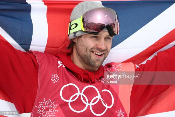 Bronze medalist Billy Morgan of Great Britain celebrates during the victory ceremony after the Men's Big Air Final on day 15 of the PyeongChang 2018...