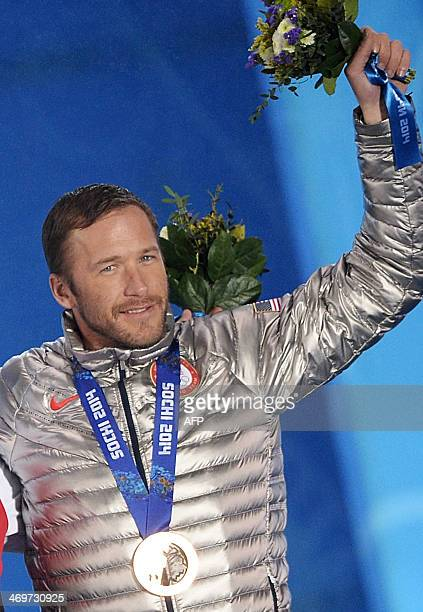 US bronze medalist Bode Miller poses during the Men's Alpine Skiing SuperG Medal Ceremony at the Sochi medals plaza during the Sochi Winter Olympics...