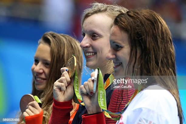 Bronze medalist Boglarka Kapas of Hungary gold medalist Katie Ledecky of USA and silver medalist Jazz Carlin of Great Britain pose during the medal...