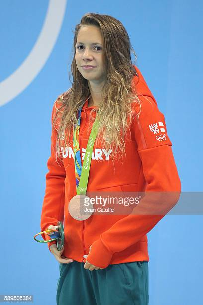 Bronze medalist Boglarka Kapas of Hungary poses during the medal ceremony for the Women's 800m Freestyle final on day 7 of the Rio 2016 Olympic Games...