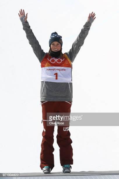 Bronze medalist Brita Sigourney of the United States celebrates on the podium the Freestyle Skiing Ladies' Ski Halfpipe Final on day eleven of the...