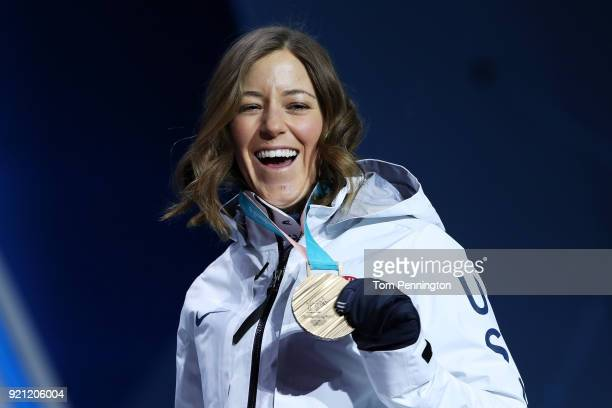 Bronze medalist Brita Sigourney of the United States celebrates during the medal ceremony for Freestyle Skiing Ladies' Ski Halfpipe on day 11 of the...
