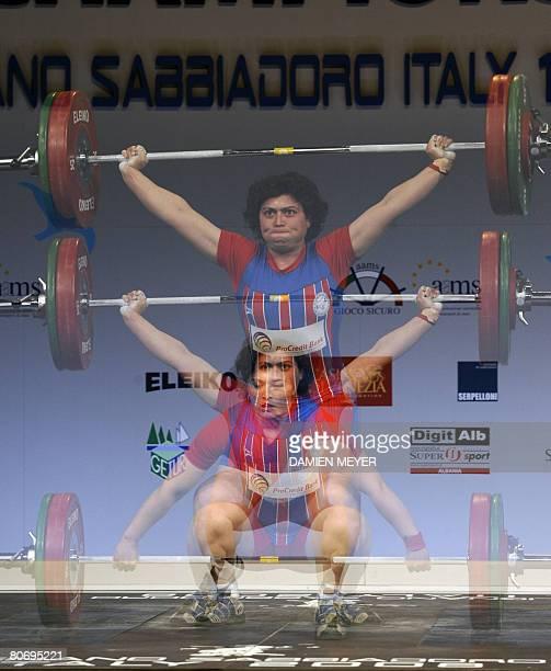 Bronze medalist Bulgarian Slaveyka Ruzhinska competes in women 69 kg category during 2008 european weightlifting championships in Lignano Sabbiadoro...