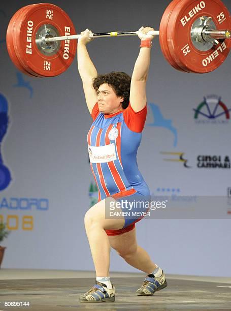Bronze medalist Bulgaria's Slaveyka Ruzhinska competes in women 69 kg category during 2008 european weightlifting championships in Lignano Sabbiadoro...