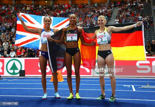 Bronze medalist Carolin Schaefer of Germany Silver medalist Katarina JohnsonThompson of Great Britain and Gold medalist Nafissatou Thiam of Belgium...
