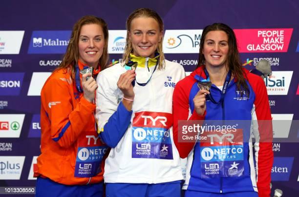 Bronze Medalist Charlotte Bonnet of France Silver Medalist Femke Heemskerk of the Netherlands and Gold medalist Sarah Sjoestroem of Sweden pose with...
