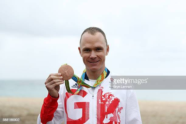 Bronze medalist Christopher Froome of Great Britain poses for a photo following the Cycling Road Men's Individual Time Trial on Day 5 of the Rio 2016...