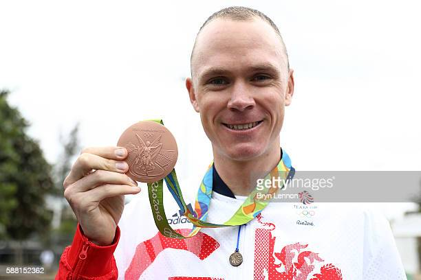 Bronze medalist Christopher Froome of Great Britain stands poses for a photo following the Cycling Road Men's Individual Time Trial on Day 5 of the...