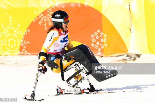 Bronze Medalist Claudia Loesch of Austria celebrates after competes in the Women's Giant Slalom Run 2 Sitting day five of the PyeongChang 2018...