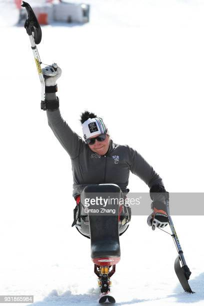 Bronze Medalist Claudia Loesch of Austria celebrates during the victory ceremony following the Women's Giant Slalom Run 2 Sitting day five of the...