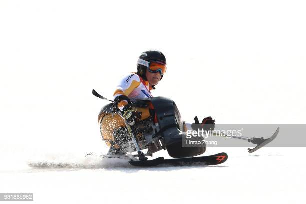 Bronze Medalist Claudia Loesch of Austria competes in the Women's Giant Slalom Run 2 Sitting day five of the PyeongChang 2018 Paralympic Games on...
