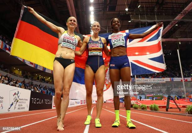 Bronze medalist Claudia SalmanRath of Germany gold medalist Ivana Spanovic of Serbia and Silver medalist Lorraine Ugen of Great Britain celebrate...