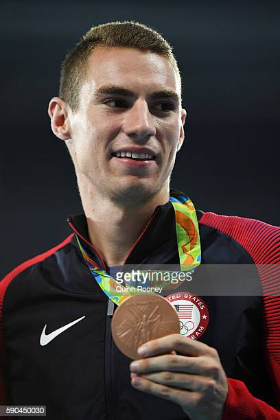 Bronze medalist Clayton Murphy of the United States poses during the medal ceremony for the Men's 800m Final on Day 11 of the Rio 2016 Olympic Games...