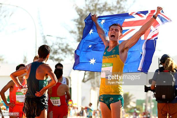 Bronze medalist Dane BirdSmith of Australia celebrates after the Men's 20km Race Walk on Day 7 of the Rio 2016 Olympic Games at Pontal on August 12...