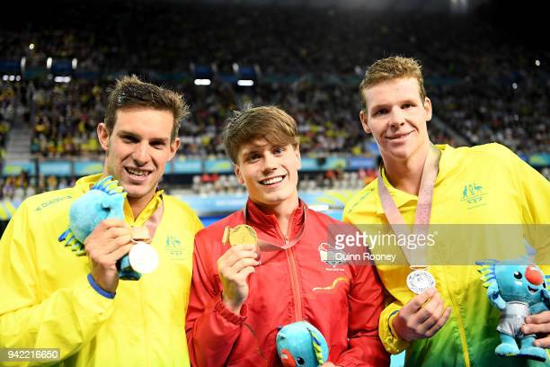 Bronze medalist Daniel Fox of Australia gold medalist Thomas Hamer of England and silver medalist Liam Schluter of Australia pose during the medal...