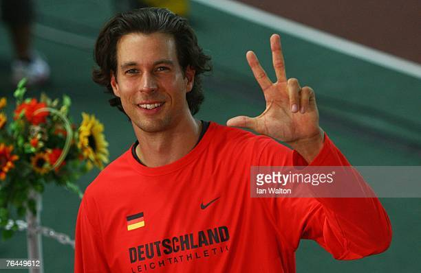 Bronze medalist Danny Ecker of Germany celebrates following the Men's Pole Vault Final on day eight of the 11th IAAF World Athletics Championships on...