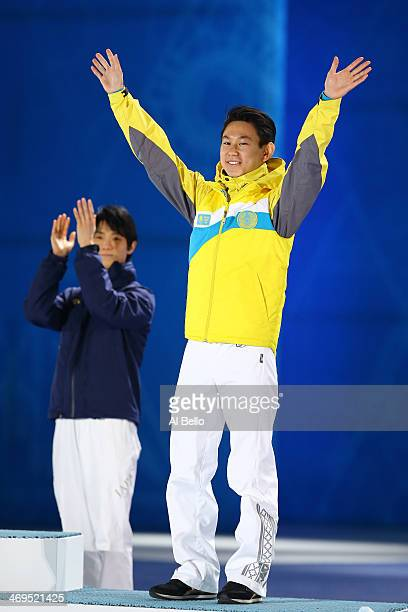 Bronze medalist Denis Ten of Kazakhstan celebrates during the medal ceremony for the Men's Figure Skating on day 8 of the Sochi 2014 Winter Olympics...