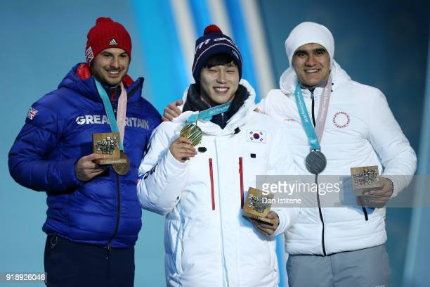 Bronze medalist Dom Parsons of Great Britain gold medalist Sungbin Yun of Korea and silver medalist Nikita Tregubov of Olympic Athlete from Russia...