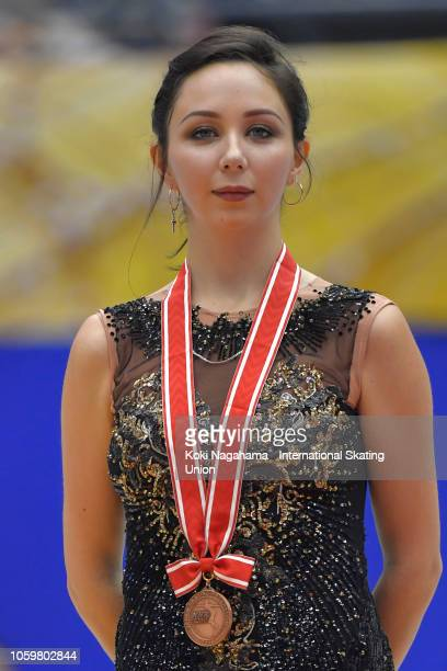 Bronze medalist Elizaveta Tuktamysheva of Russia poses for photographs after the Ladies Free Skating on day two of the ISU Grand Prix of Figure...
