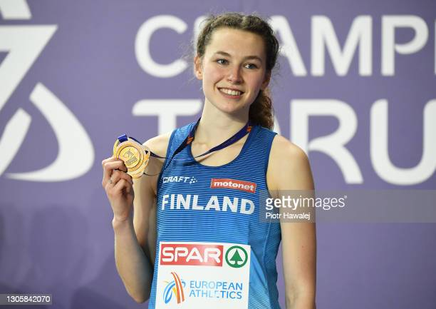 Bronze medalist Ella Junnila of Finland poses for a photo during the medal ceremony for Women's High Jump during the second session on Day 3 of the...