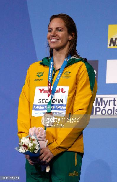 Bronze medalist Emily Seebohm of Australia poses with the medal won during the Women's 100m Backstroke final on day twelve of the Budapest 2017 FINA...