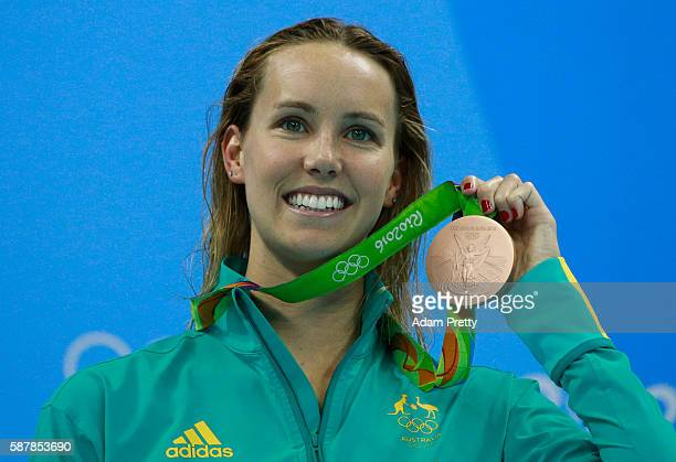 Bronze medalist Emma McKeon of Australia poses on the podium during the medal ceremony for the Women's 200m Freestyle Final on Day 4 of the Rio 2016...