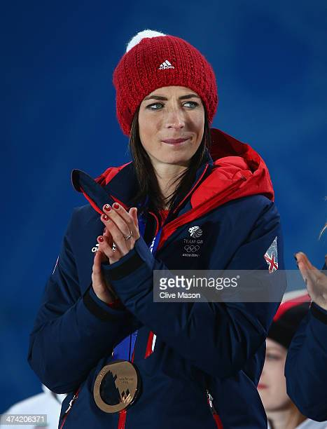 Bronze medalist Eve Muirhead of Great Britain celebrates during the medal ceremony for Women's Curling on Day 15 of the Sochi 2014 Winter Olympics at...