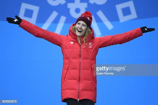 Bronze medalist Fanny Smith of Switzerland celebrates during the medal ceremony for Freestyle Skiing - Ladies' Ski Cross on day 14 of the PyeongChang...