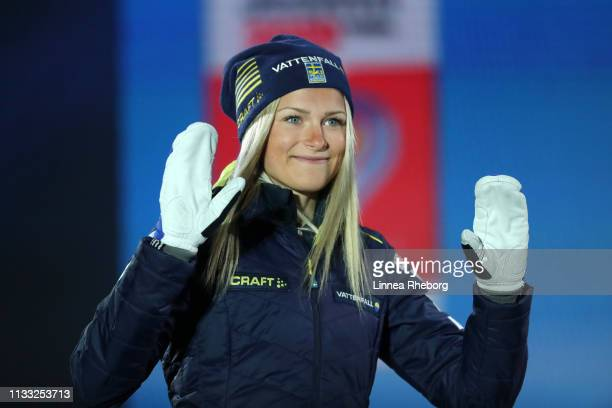 Bronze medalist Frida Karlsson of Sweden celebrates during the Medal Ceremony for the Women's Cross Country 30k race during FIS Nordic World Ski...