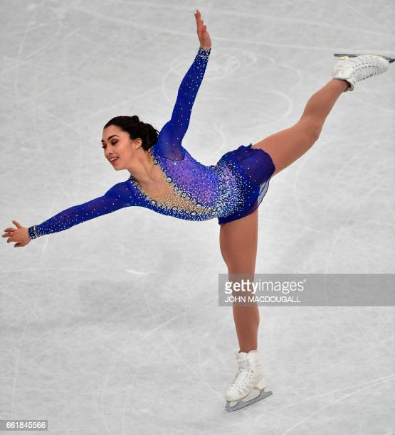 Bronze medalist Gabrielle Daleman of Canada during her program at the woman's Free Skating event at the ISU World Figure Skating Championships in...