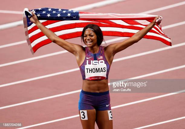 Bronze Medalist Gabrielle Thomas of USA celebrates following the Women's 200m Final on day eleven of the athletics events of the Tokyo 2020 Olympic...