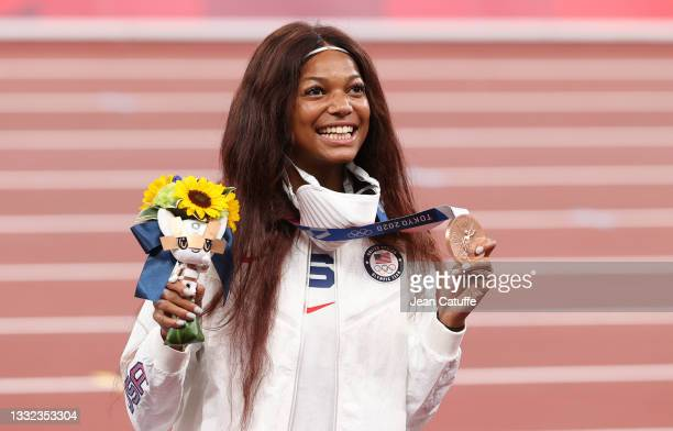 Bronze Medalist Gabrielle Thomas of USA during the medal ceremony of the Women's 200m Final on day twelve of the athletics events of the Tokyo 2020...