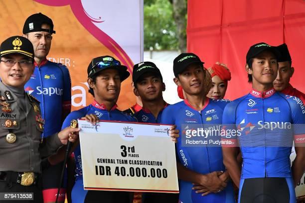 Bronze medalist General Team Classification TSC Team Sapura Cycling Malaysia celebrate on the podium in the Tour de Singkarak 2017 on November 26...