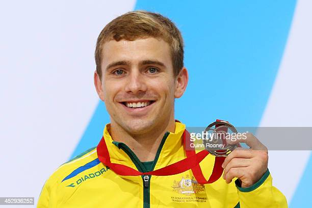 Bronze medalist Grant Nel of Australia poses during the medal ceremony for the Men's 1m Springboard Final at Royal Commonwealth Pool during day seven...