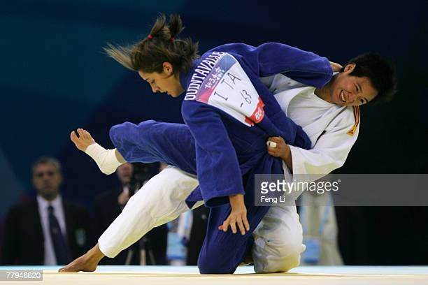 Bronze medalist Guizhong Han of China competes with Giulia Quintavalle of China in the women's 63kg category during the Good Luck Beijing 2007 Judo...