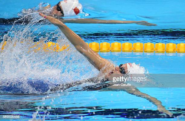 Bronze medalist Hilary Caldwell of Canada competes in the Women's 200m Backstroke final on day 7 of the Rio 2016 Olympic Games at Olympic Aquatics...
