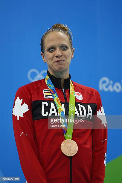 Bronze medalist Hilary Caldwell of Canada poses on the podium during the medal ceremony for the Women's 200m Backstroke Final on Day 7 of the Rio...