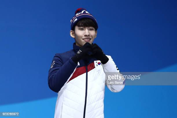 Bronze medalist Hyojun Lim of Korea celebrates during the medal ceremony for Short Track Speed Skating Men's 500m on day 14 of the PyeongChang 2018...