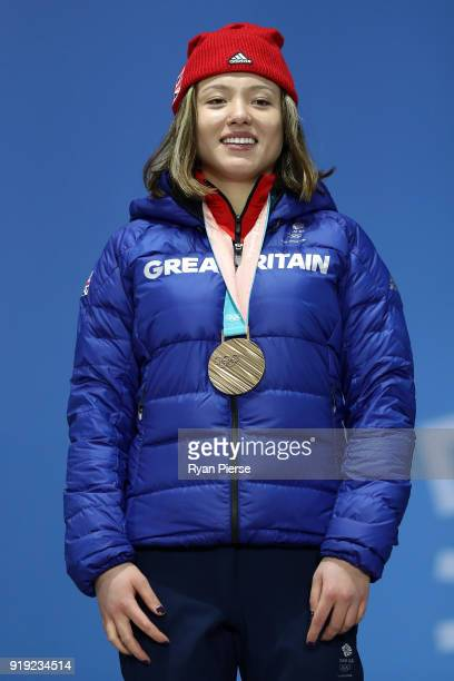 Bronze medalist Isabel Atkin of Great Britain celebrates during the medal ceremony for the Ladies' Ski Slopestyle on day eight of the PyeongChang...