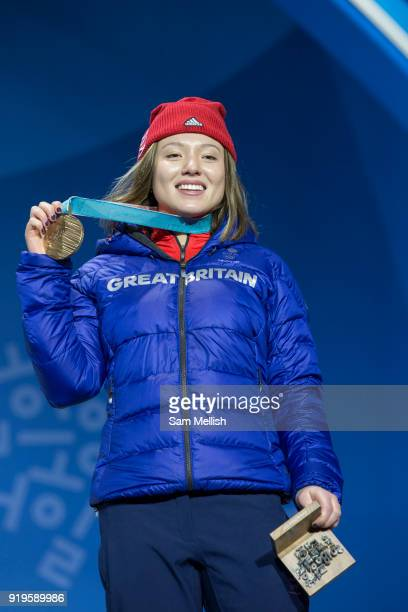 Bronze medalist Isabel Atkin of Great Britain celebrates during the medal ceremony for the womens ski slopestyle on day 8 of the PyeongChang 2018...